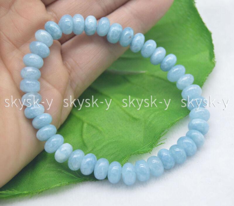 Natural 5x8mm Blue Aquamarine Gemstone Rondelle Beads Elastic Bracelet 7.5