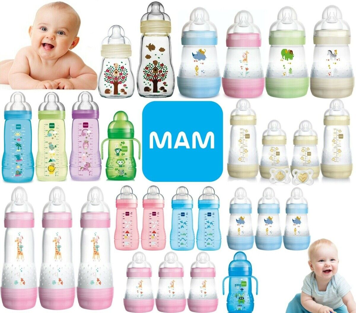 Mam Easy Start Anti-Colic Bottle 160ml 1pk Blue//Green//Pink//White