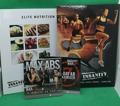 Insanity dvd Bundle 5x Dvds Max Abs/ Interval sports training/ Elite nutrition