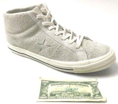 Converse One Star Egret Men's 13/Women's 15 Mid Vintage White Suede Shoe 157702C