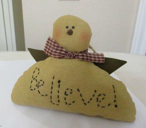 """Believe"" Shelf Sitter Ornament Primitive Snowman Angel Doll Christmas Figure 6"""