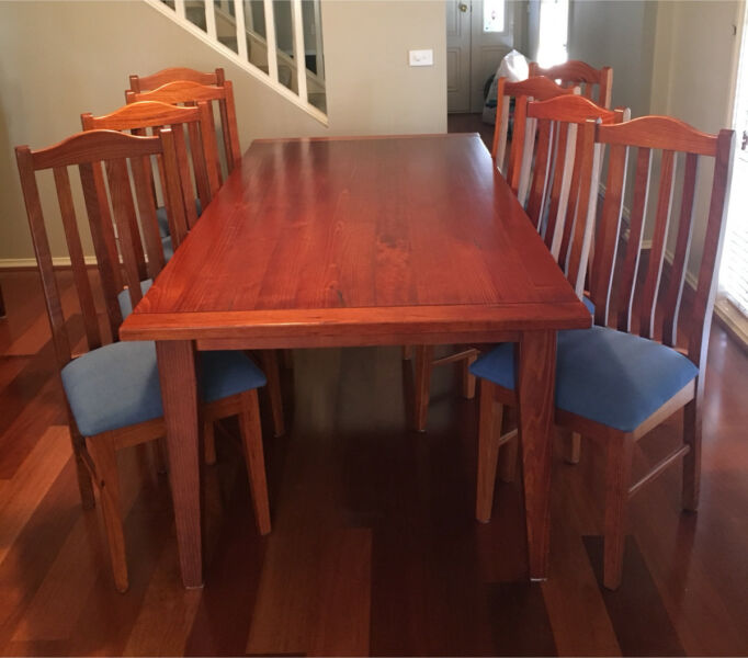 Formal 9 piece Dining Setting (Solid Timber Table 8 chairs)