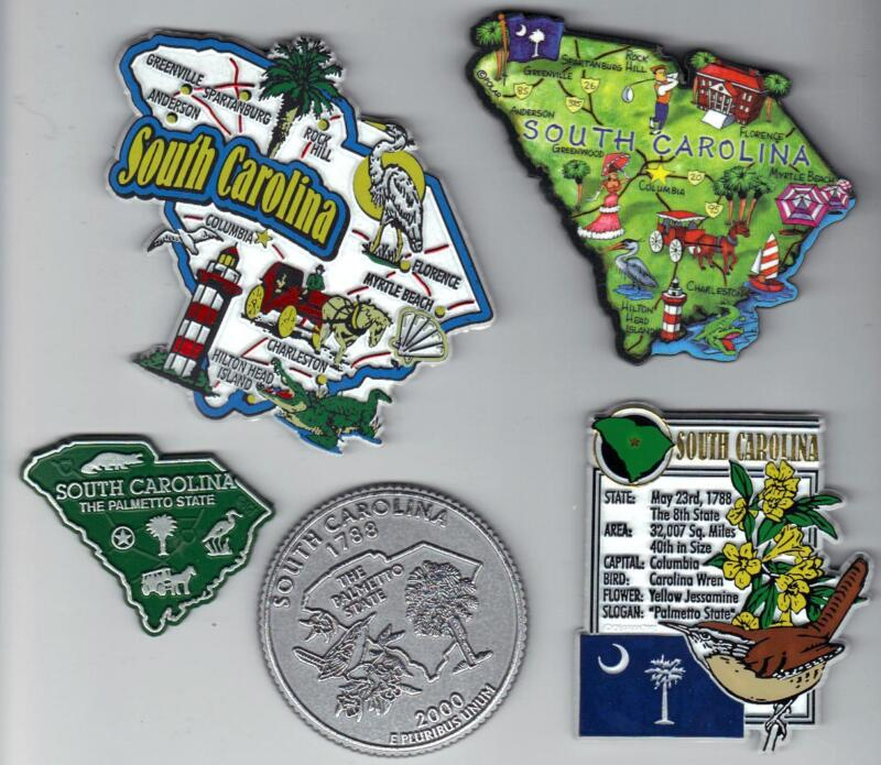 SOUTH CAROLINA  MAGNET ASSORTMENT 5 NEW STATE SOUVENIRS include ARTWOOD MAP