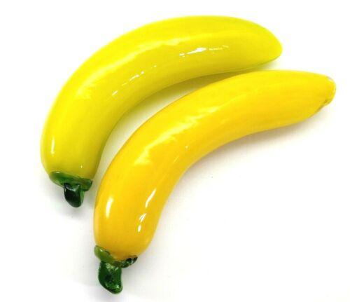 Vintage Glass Fruit Yellow Banana  Green Leaf