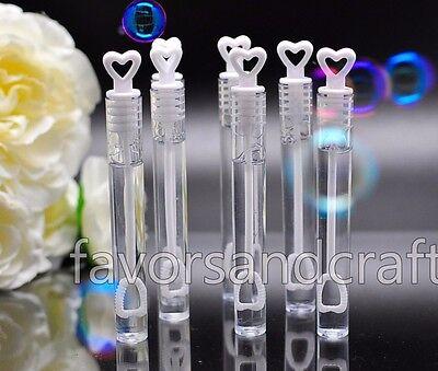 48 Heart Wedding Bubbles Wand Bottles Tubes Favors Decorations Favour Lot (Bubble Tubes)