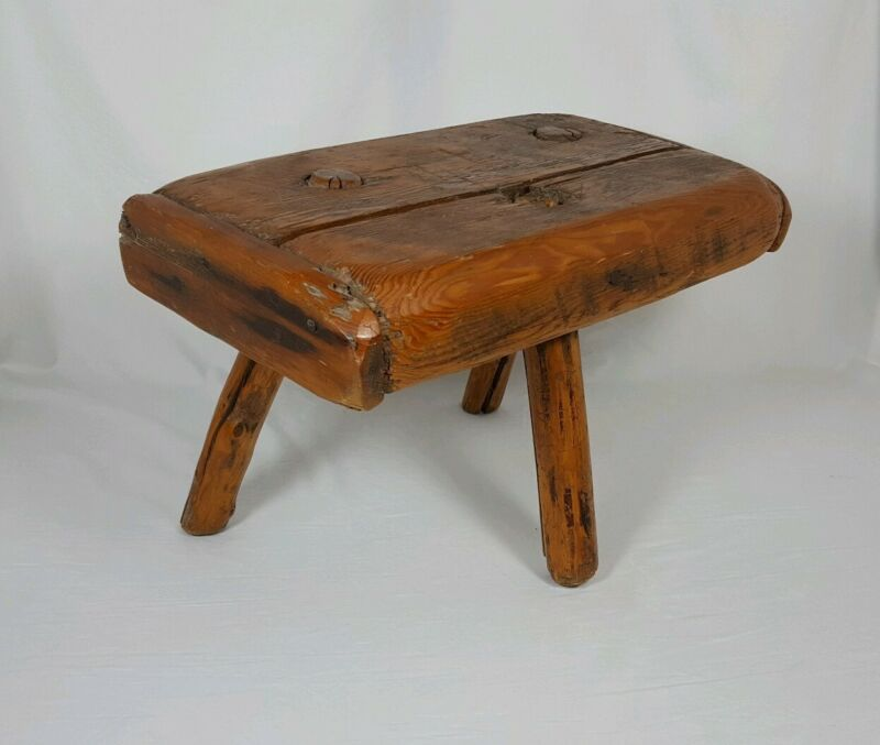 Antique 3 Legged Primitive Milk Stool Rustic Farm Wood Chair