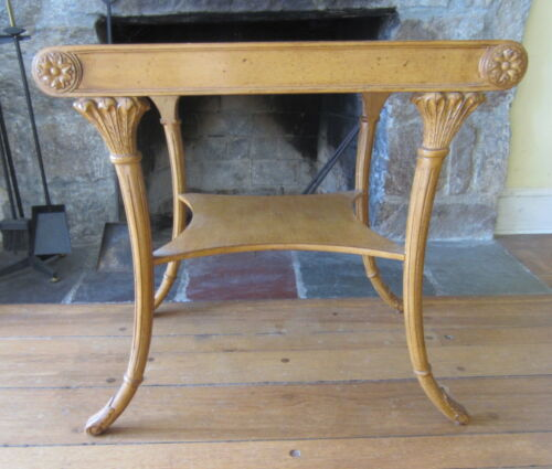 Stunning Vintage Hand Carved Neoclassical Klismos Style Occasional Side Table