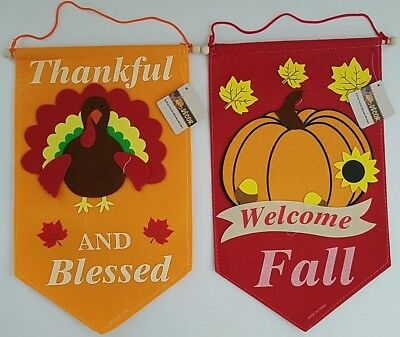 "Fall Harvest Thanksgiving Wall Banner Decorations 15"" x 9"",   Select: Theme"