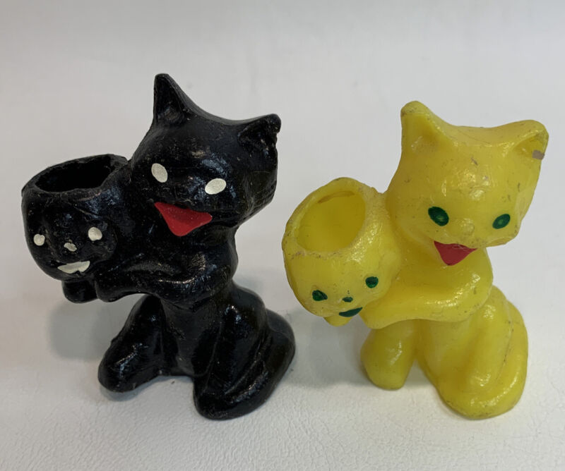 Vintage Gurley Wax Black/Yellow Cat Party Favor Candle Holder Candy Halloween
