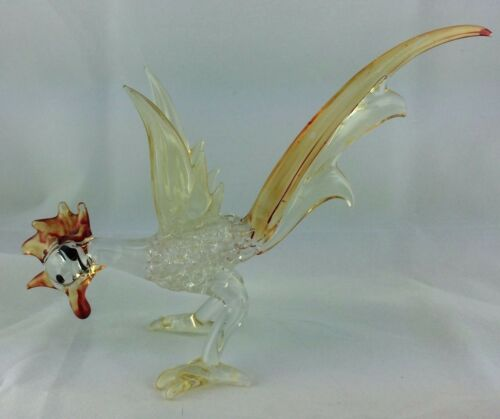 "Vintage Murano Art Glass Rooster Orange, Red, Yellow, and Clear 8"" long"