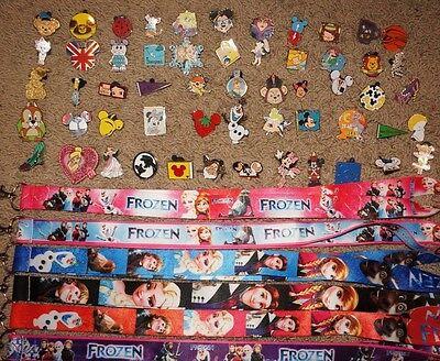 Disney World Pin Trading Lot Lanyard Starter Frozen Princess Anna Elsa w 10 Pins