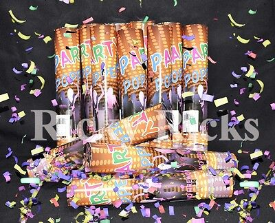12 Party Poppers Confetti Wedding Shooter Cannon Streamer New Years Eve ](New Year's Poppers)