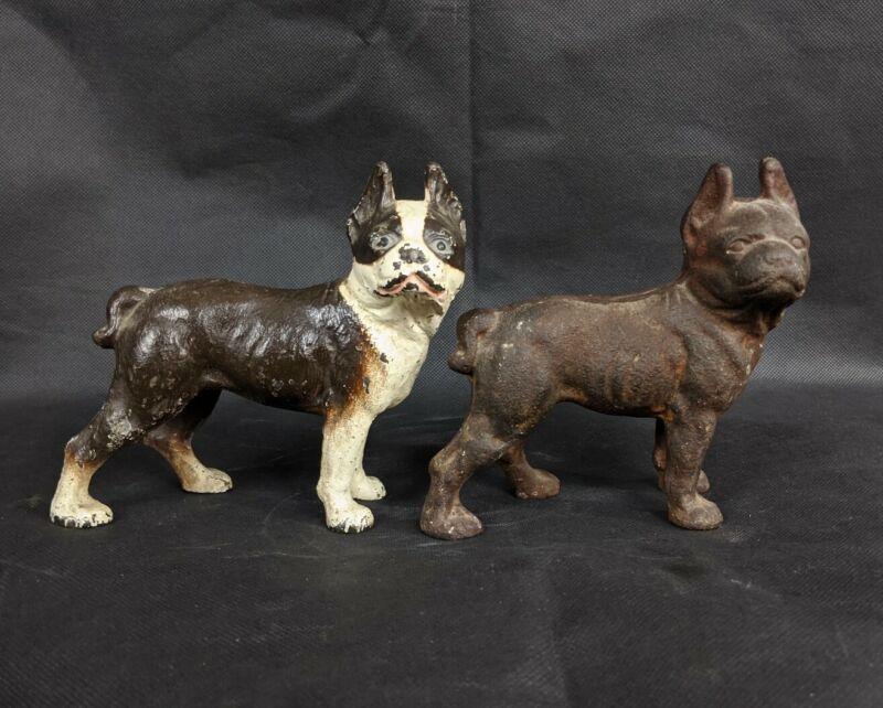 "Antique Cast Iron Coin Bank Pair Boston Terrier 5"" Hubley?"