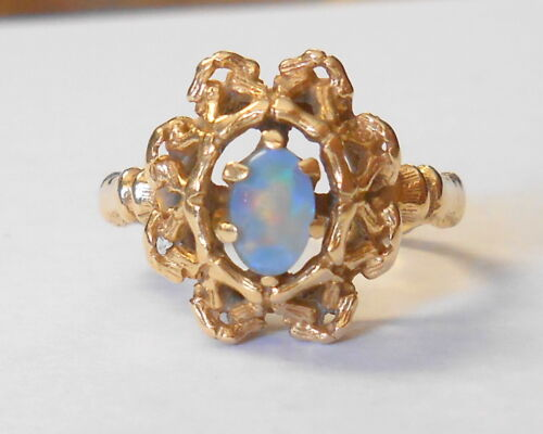 Vintage Colorful 6x4mm Opal Doublet 14K Yellow Gold Ring Size 6.5 Unique Shank