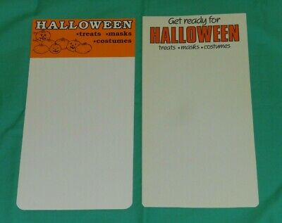 vintage HALLOWEEN RETAIL STORE DISPLAY SIGN lot x2 pumpkins treats mask costumes (Halloween Costumes Retail Stores)