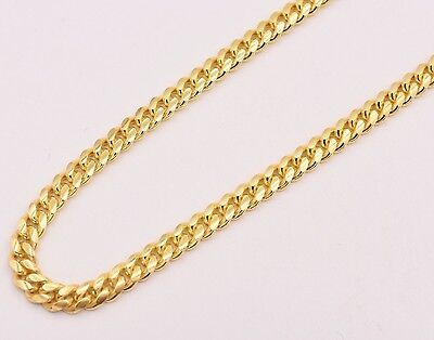Solid Miami Cuban Curb Link Chain Necklace 14K Yellow Gold Clad Silver 925 (Link Yellow Necklace)