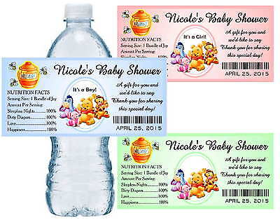20 WINNIE THE POOH BABY SHOWER FAVORS WATER BOTTLE LABELS ~  glossy Bottle Shower Favors