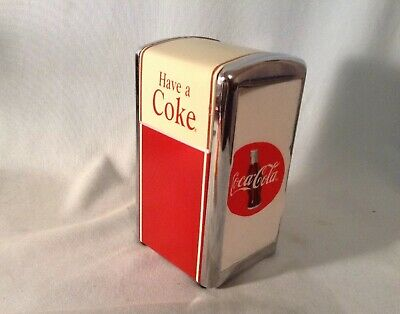 Coca Cola 1992 Metal Napkin Dispenser Filled With Corect Coke Napkins