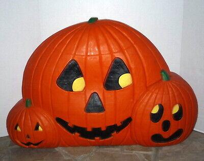 "Vintage Halloween Blow Mold Large 32"" Multi Carved Pumpkin Group Lighted"