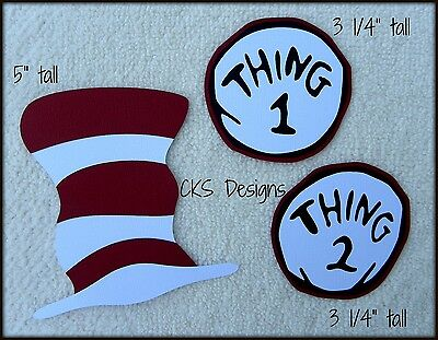 Die Cut Dr Seuss Hat & Thing 1 & 2 Tag Scrapbook Embellishment Paper Piecing CKS