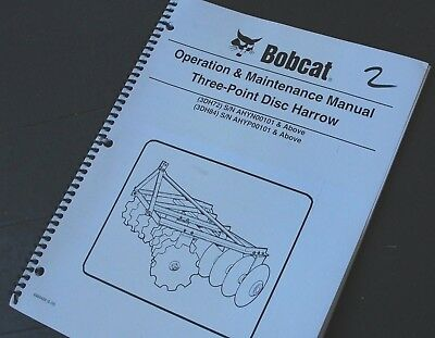 Bobcat 3 Three Point Disc Harrow Owner Operator Operation Maintenance Manual 3