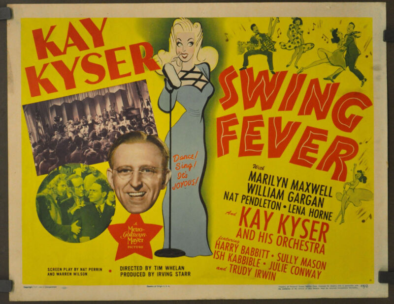 SWING FEVER 1944 ORIGINAL 22X28 MOVIE POSTER KAY KYSER MARILYN MAXWELL