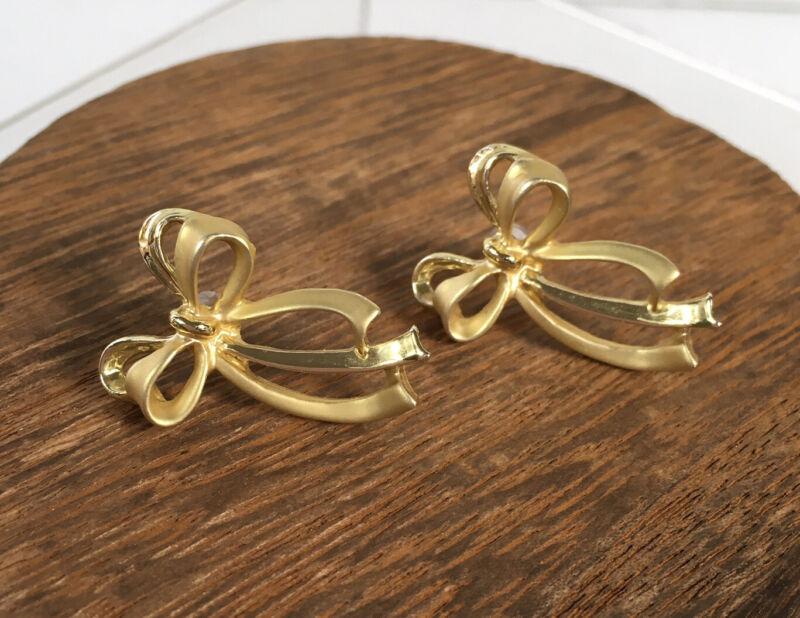 Vintage Gold-Tone Ribbon Bow Earrings Pierced Matte Shiny