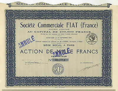 Fiat Chrysler   Fiat S A   Share  1 000 Francs  1935   Rarity  Only Issued 100