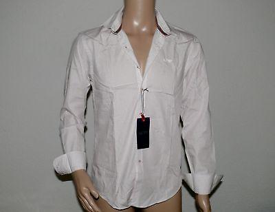 AJ Armani Jeans  Camicia Fantasia Pat Herren Hemd Custom Fit Weiß Schwarz Gr. M
