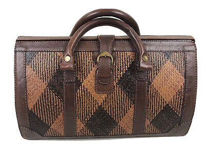 1950s Handbags, Purses, and Evening Bag Styles Vintage Leather & Cane Bag $187.23 AT vintagedancer.com