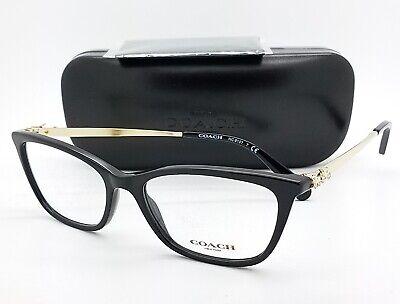 9f7234302feee NEW Coach Eye Glasses Frame Rx HC6107 5486 54mm Black Gold Cateye AUTHENTIC  6107