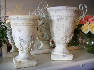 Antique Amphore Übertopf Pokal cremeweiss shabby vintage Garten 24 cm