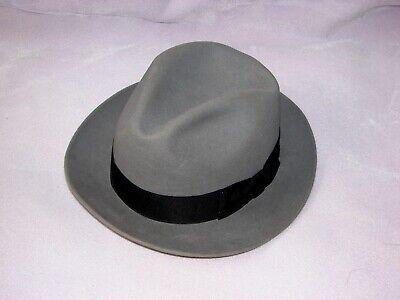 b1da83f13e21f VTG Stetson gray fur felt suede black trim men s 7 1 8 western Fedora  cowbow hat