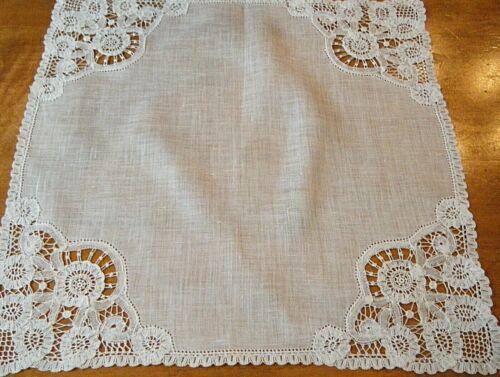 Exquisite antique Wedding  handkerchief voile Brussels  lace hand done  MINT