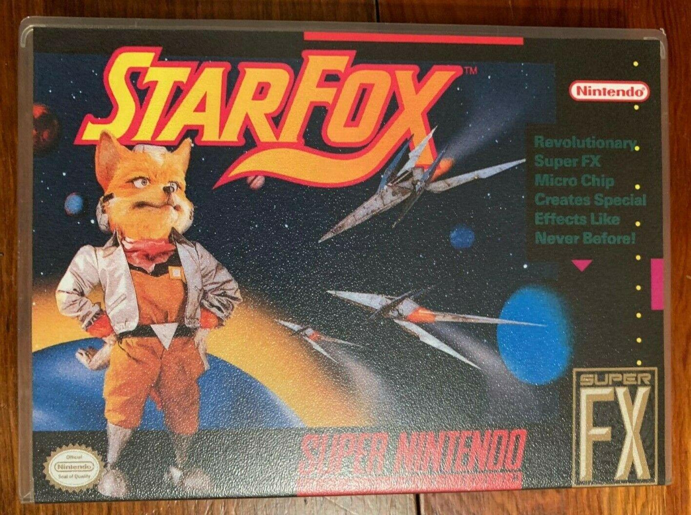 SNES Star Fox Custom Case Super Nintendo 1993 Clean Authentic Good Condition - $18.99