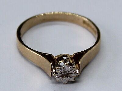 VINTAGE 9CT YELLOW GOLD SINGLR DIAMOND RING SIZE K