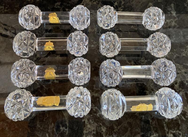 Imperlux Geniune Lead Crystal Knife/Utensil Rests Set Of 8 Western Germany