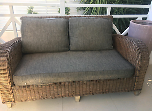 Wicker Rattan Natural Cane Outdoor Setting 3 Piece 4 Seater Upper Coomera Gold Coast North Preview
