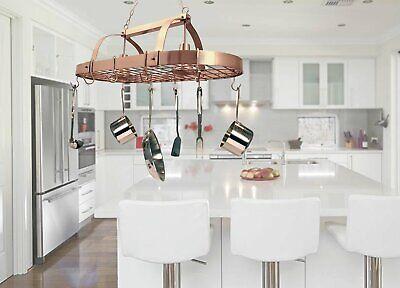 Hanging Pot Rack Ceiling Mount With Lights Shelf Kitchen Pot Pan Utensils Copper