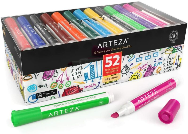 ARTEZA Dry Erase Markers, Chisel Tip, 12 Assorted Colors, Set of 52