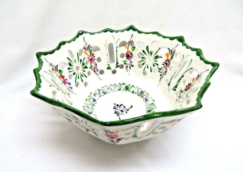 Hand Painted Portugal Reticulated Bowl