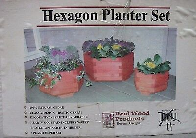"Real Wood Products 17"" Natural Cedar Hexagon Planter Set (Hexagon Planter Set)"