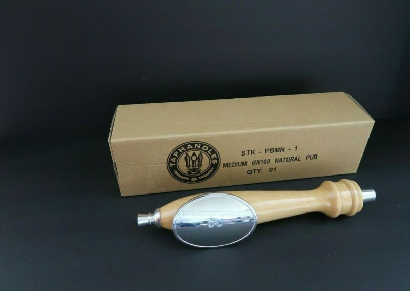 Taphandles Natural Wood Silver Oval Shield Pub Style Beer Tap Handle STK-PBMN-1