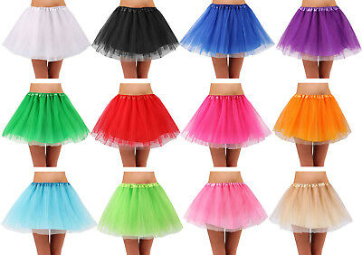 Women's Teen Adult Classic Elastic 4 Layered Tulle Tutu Skirt for Dress up