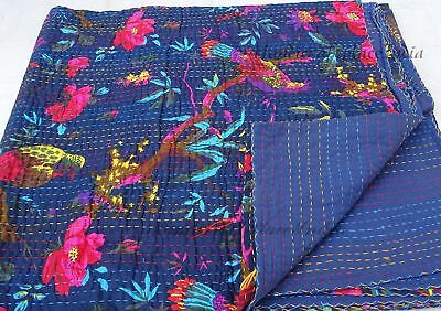 Bird Kantha Quilt Twin Size Bed Spread Bed Cover Indian Throw Handmade Decor
