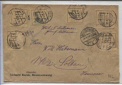 6 Gebührenmarken Fa. Borek auf Wert-Brief von Braunschweig nach Soltau (B05084)
