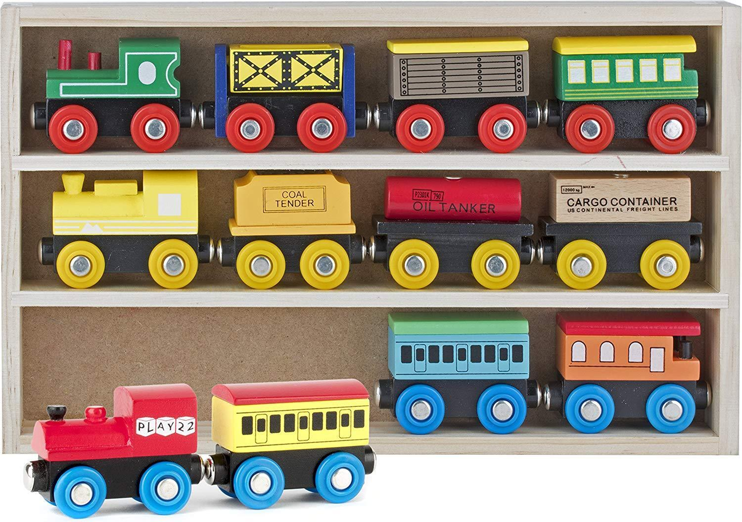 Wooden Train Set 12 Pcs Magnetic Includes 3 Engines-Toy Trai