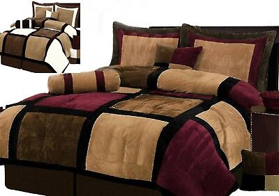 Burgundy Or White   Brown And Black Suede Patchwork Comforter Set Bed In A Bag