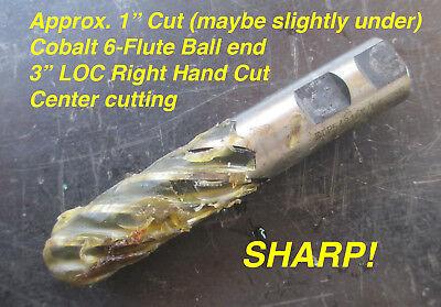 Pct Cobalt Ball End Mill 1 Cut X 1 Shank X 3 Loc 6-flute Center Cutting Rhc