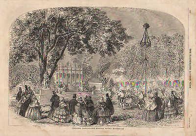 England, Cremorne Gardens, May Pole Dance, Vintage, 1858 Antique, Art Print,